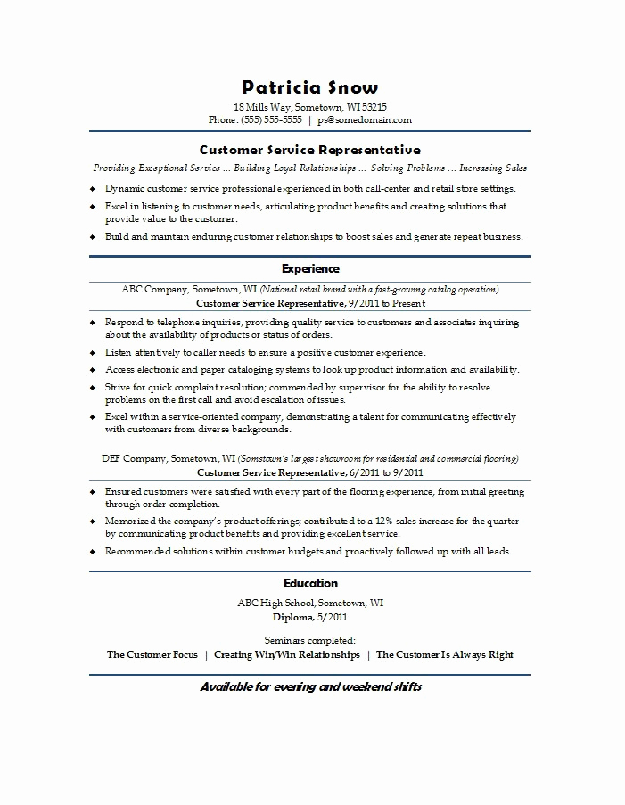Retail Customer Service Resume Unique 22 Best Customer Service Representative Resume Templates