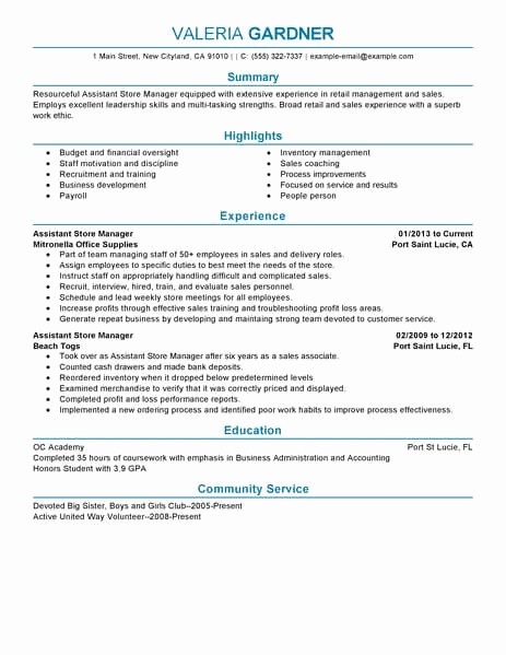 Retail Store Manager Resumes Beautiful Best Retail assistant Store Manager Resume Example
