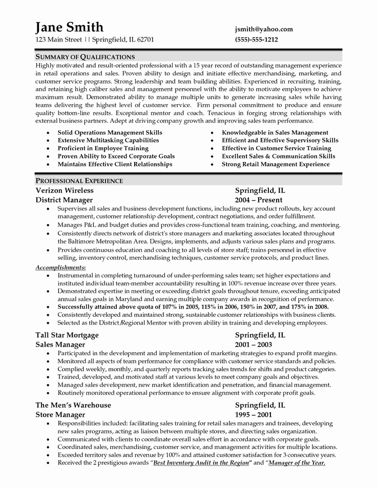 Retail Store Manager Resumes Fresh 9 Best Sample Resume Images On Pinterest