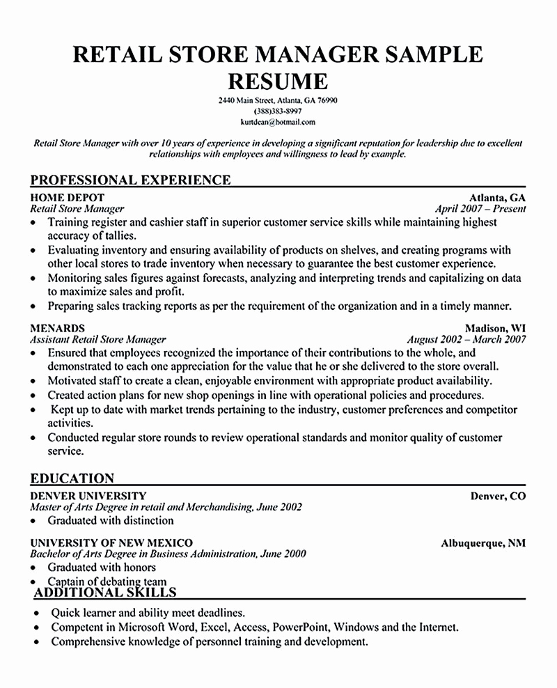 Retail Store Manager Resumes Fresh Retail Manager Resume Examples Retail Manager Resume is