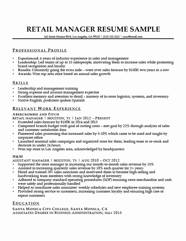 Retail Store Manager Resumes Lovely Retail Manager Resume Sample & Writing Tips
