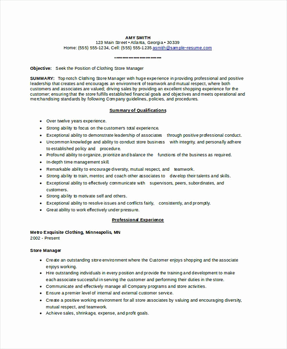 Retail Store Manager Resumes Unique Store Manager Resume
