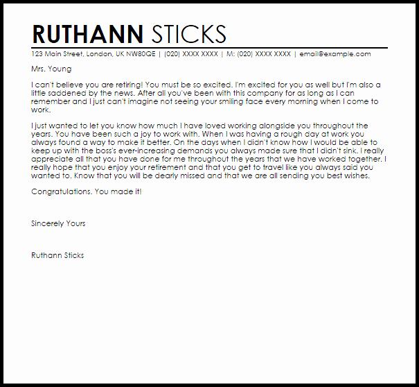 Retirement Letter to Employer Inspirational Retirement Appreciation Letter Example to Employee