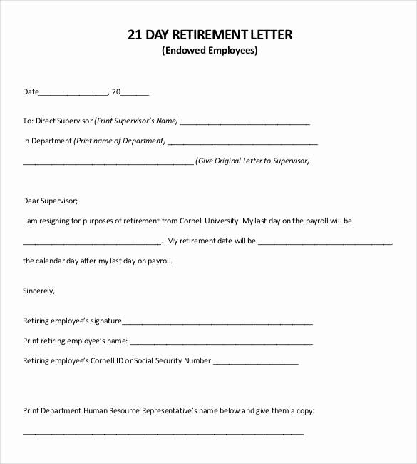 Retirement Letter to Employer Luxury 36 Retirement Letter Templates Pdf Doc