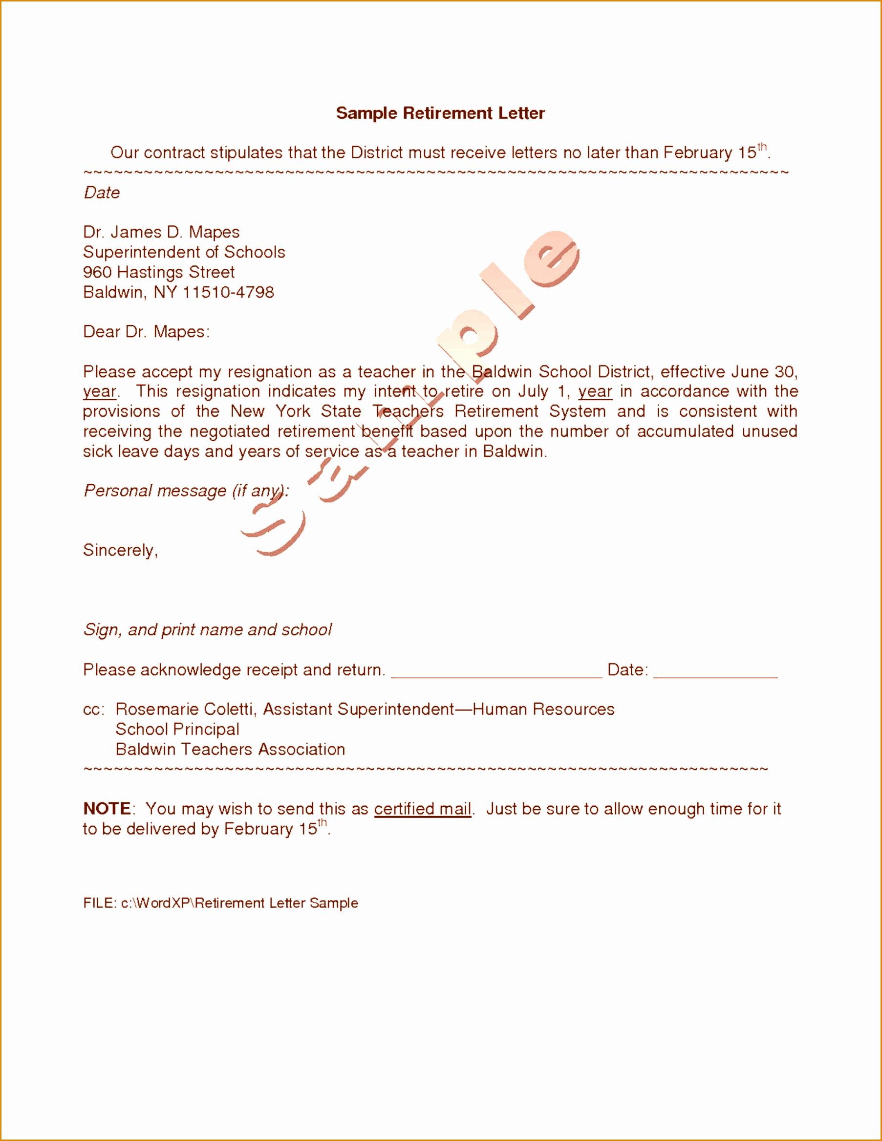 Retirement Letter to Employer New 8 9 Sample Retirement Letter to Employer