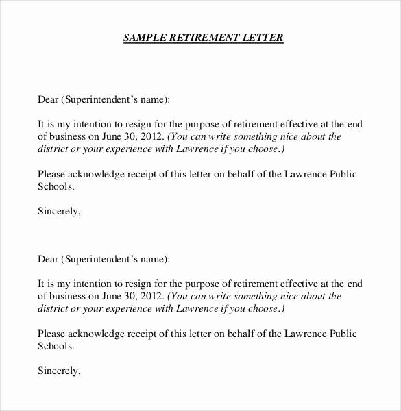 Retirement Letter to Employer Unique 36 Retirement Letter Templates Pdf Doc