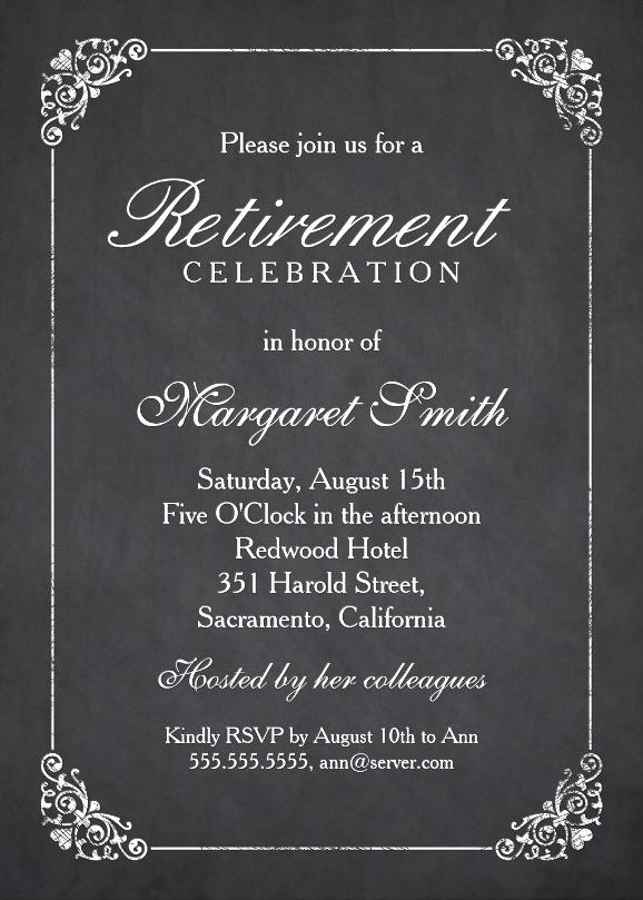 Retirement Party Invitation Templates Fresh Elegant Chalkboard Retirement Party Invitation Template