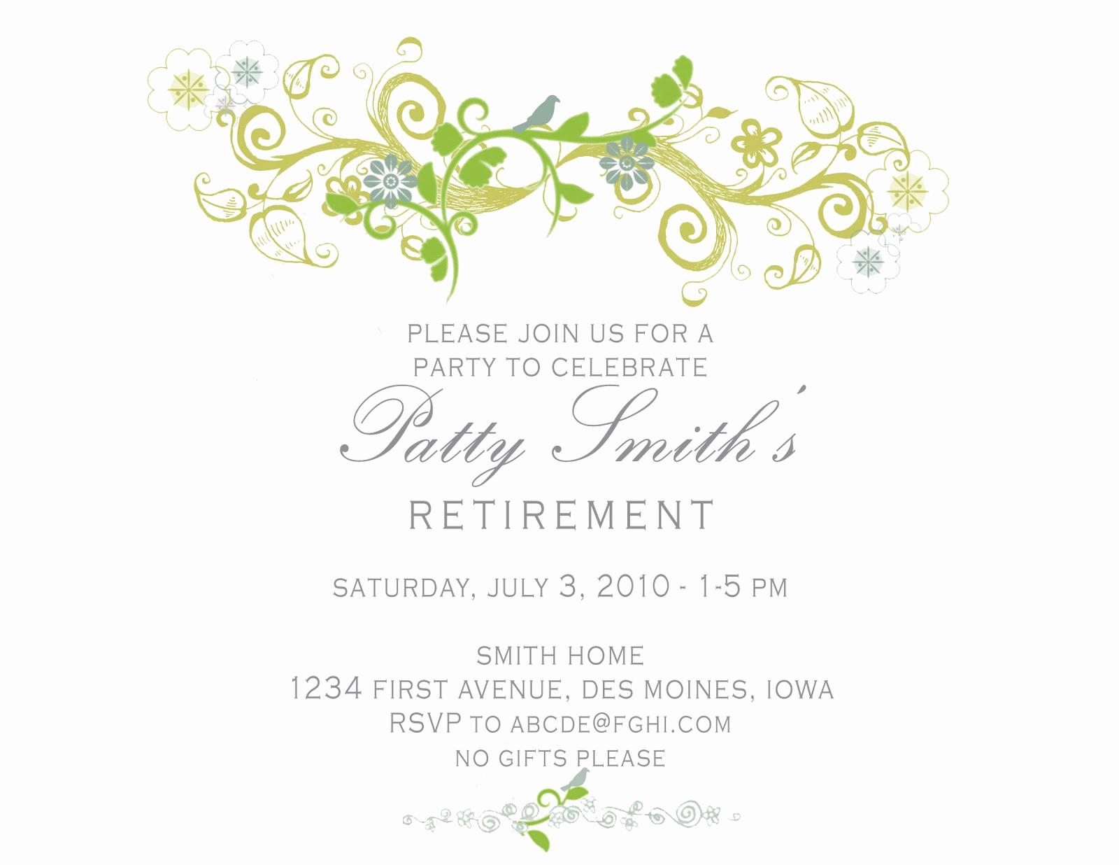 Retirement Party Invitation Templates Fresh Idesign A Retirement Party Invitation