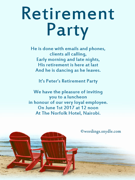 Retirement Party Invitation Templates Inspirational Retirement Party Invitation Wording Ideas and Samples