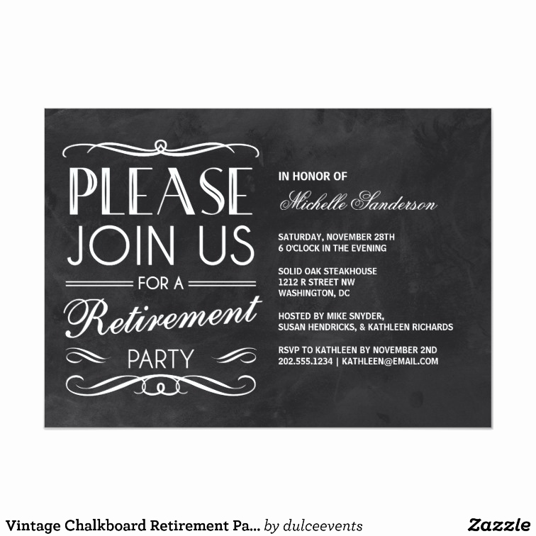 Retirement Party Invitation Templates Inspirational Vintage Chalkboard Retirement Party 13 Cm X 18 Cm