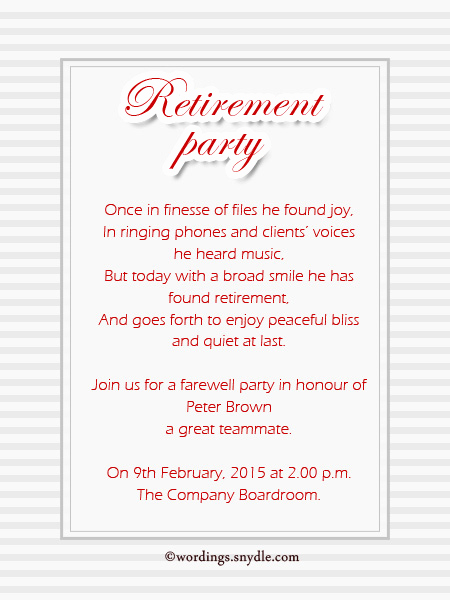 Retirement Party Invitation Templates Lovely Retirement Party Invitation Wording Ideas and Samples