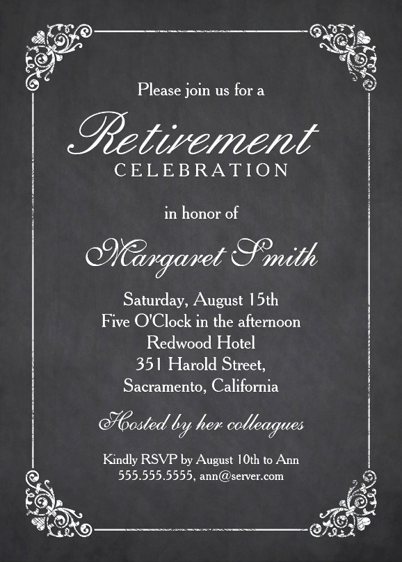 Retirement Party Invitations Template Awesome Elegant Chalkboard Retirement Party Invitation Template