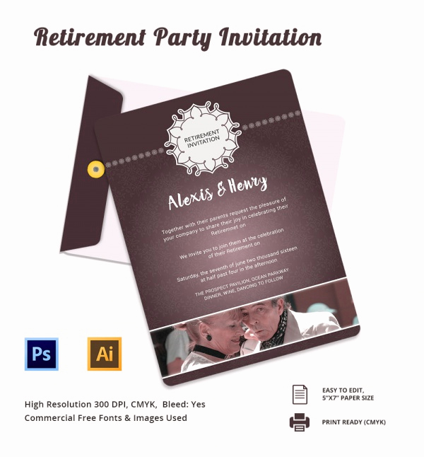 Retirement Party Invitations Template Beautiful 17 Retirement Party Invitations Psd Ai Word Pages