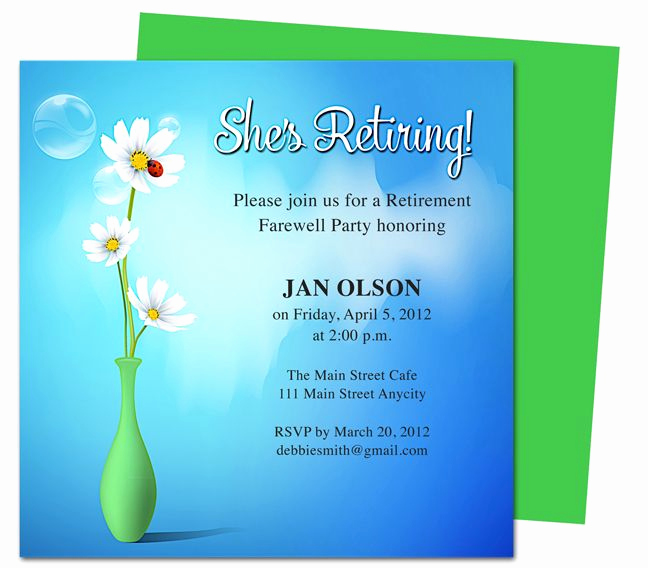 Retirement Party Invitations Template Inspirational Printable Diy Vase Retirement Party Invitations Templates