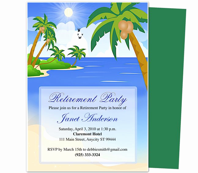 Retirement Party Invitations Template Lovely Retirement Templates Paradise Retirement Party