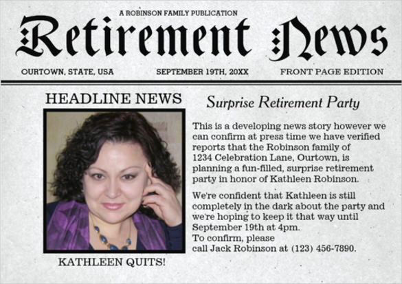 Retirement Party Invite Template Best Of 12 Newspaper Front Page Templates – Free Sample Example
