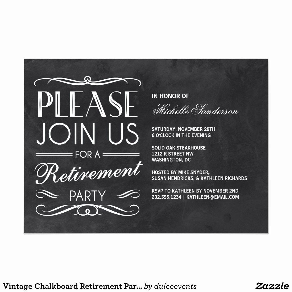 Retirement Party Invite Template Best Of Vintage Chalkboard Retirement Party Invitation
