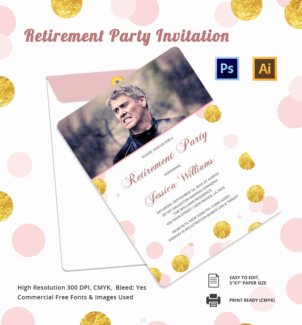Retirement Party Invite Template Lovely 25 Retirement Invitation Templates Psd Vector Eps Ai