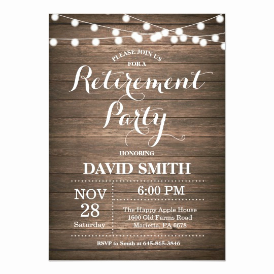 Retirement Party Invites Template Beautiful Rustic Retirement Party Invitation Card