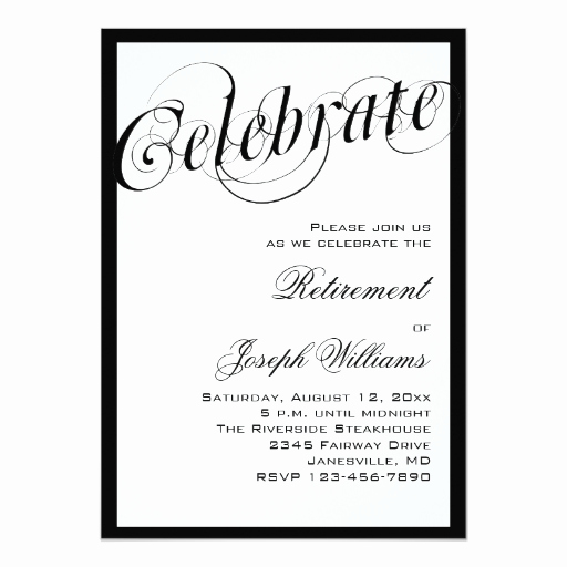 Retirement Party Invites Template Best Of Elegant Black & White Retirement Party Invitations