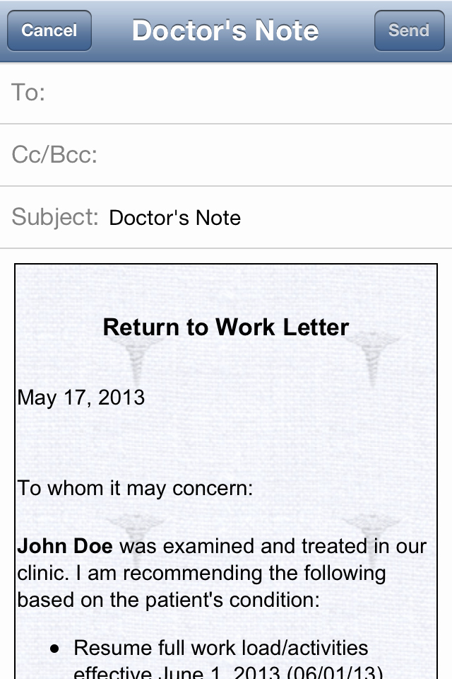 Return to Work Note Beautiful Doctor's Note iPhone and Ipad Medical App Review