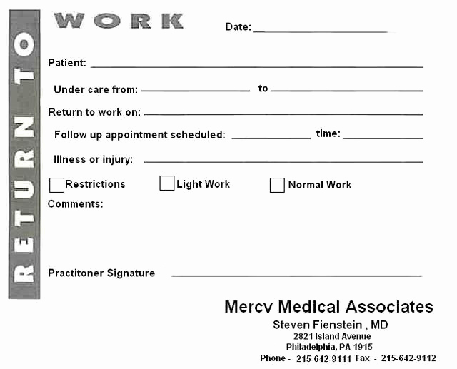 Return to Work Note Inspirational 8 Best Of Blank Printable Doctor Note Pdf Fake