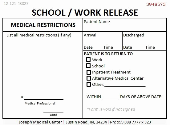 Return to Work Note Unique School Work Release Doctors Note