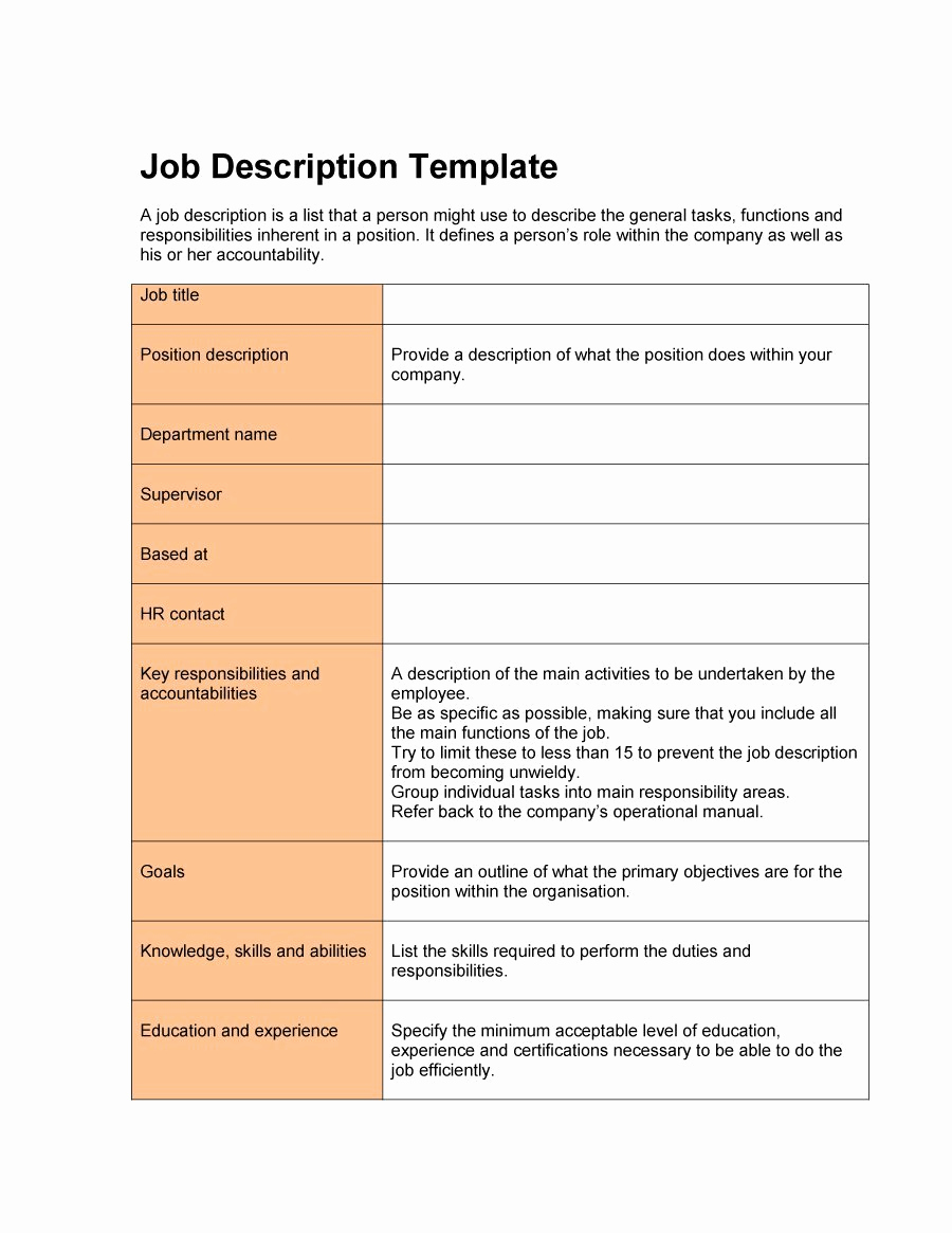 Roles and Responsibilities Template Luxury 49 Free Job Description Templates & Examples Free