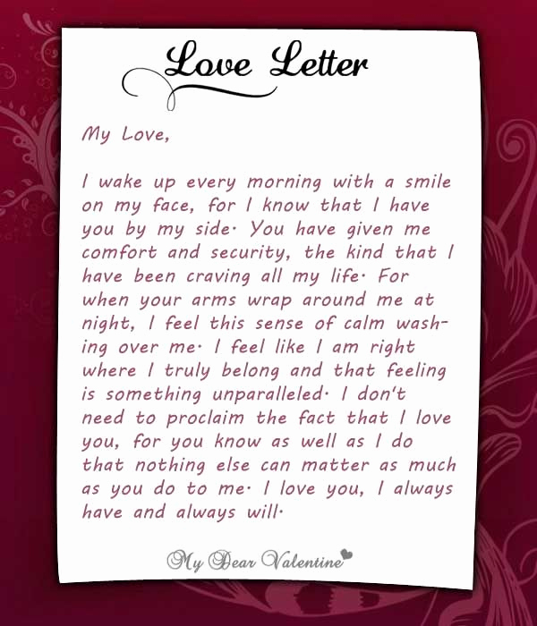 Romantic Letters for Her Elegant I Wake Up Every Morning with You at My Side