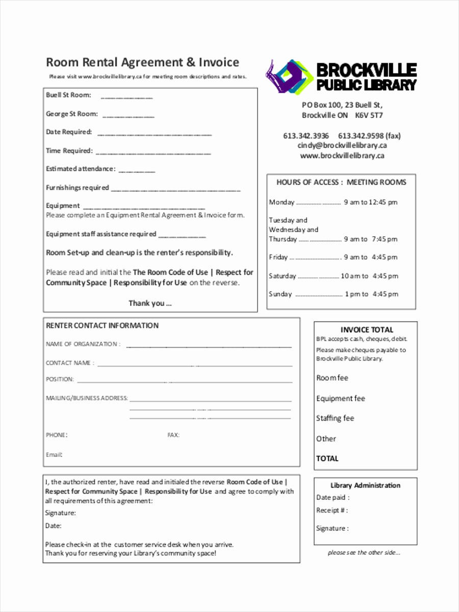 Room Rental Agreement Pdf Beautiful Rent Invoice form 7 Free Documents In Word Pdf