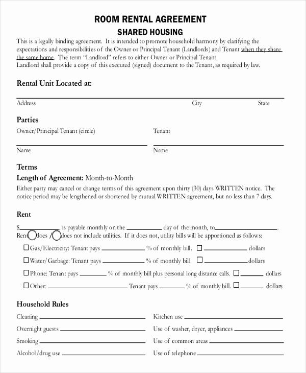 Room Rental Agreement Pdf Fresh Room Rental Agreement Template 12 Free Word Pdf Free