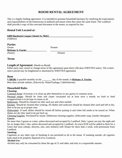 Room Rental Agreement Pdf Fresh Room Rental Agreement Template Free Download Create