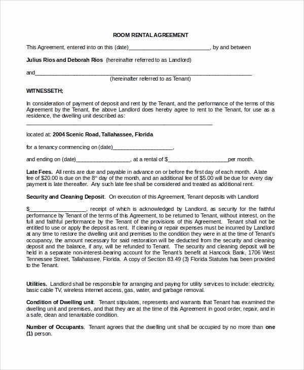 Room Rental Agreement Pdf Inspirational Sample Room Rental Agreement 8 Documents In Word Pdf