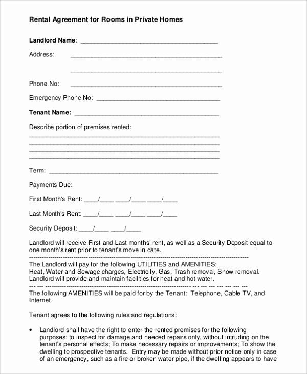 Room Rental Agreement Pdf Lovely Room Rental Agreement Template – 8 Free Word Pdf Free