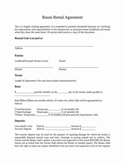 Room Rental Agreement Pdf Luxury Room Rental Agreement Template Free Download Create