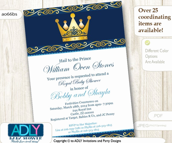 Royal Baby Shower Invitations Fresh Personalized King Prince Royal Baby Shower Gold Crown