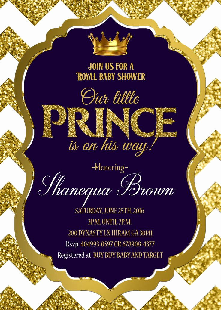 Royal Baby Shower Invitations Fresh Royal Baby Shower Invitation Royal Prince Gold