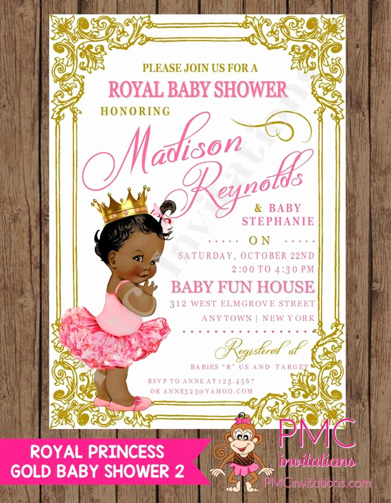 Royal Baby Shower Invitations Inspirational Custom Printed Shabby Chic Antique Vintage African