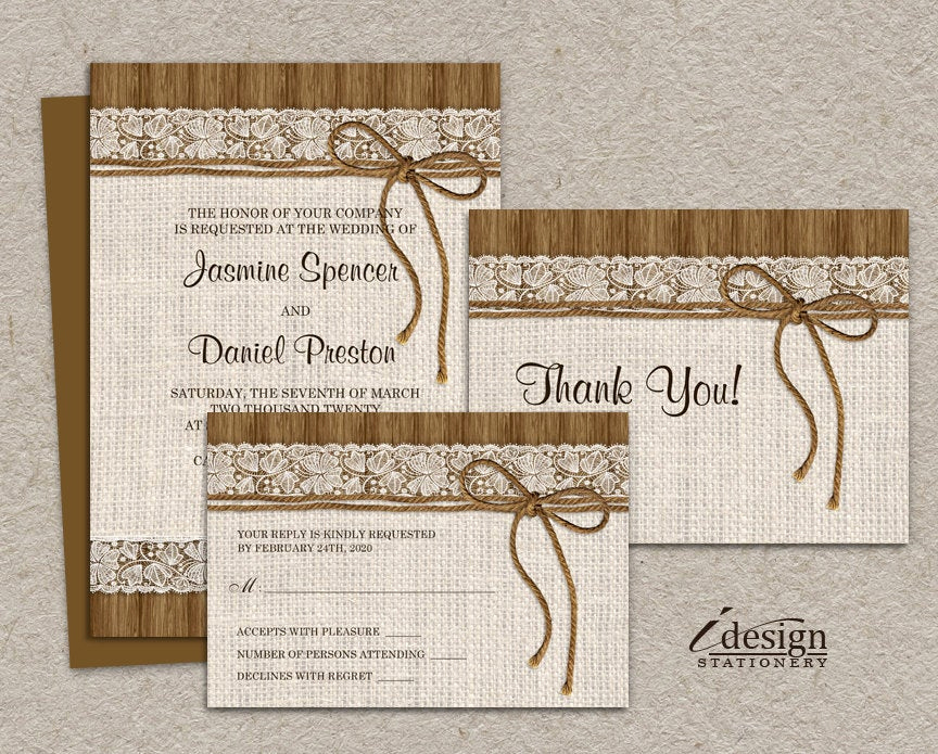 Rustic Wedding Invitation Templates Awesome Diy Printable Rustic Wedding Invitation Sets Burlap and Lace