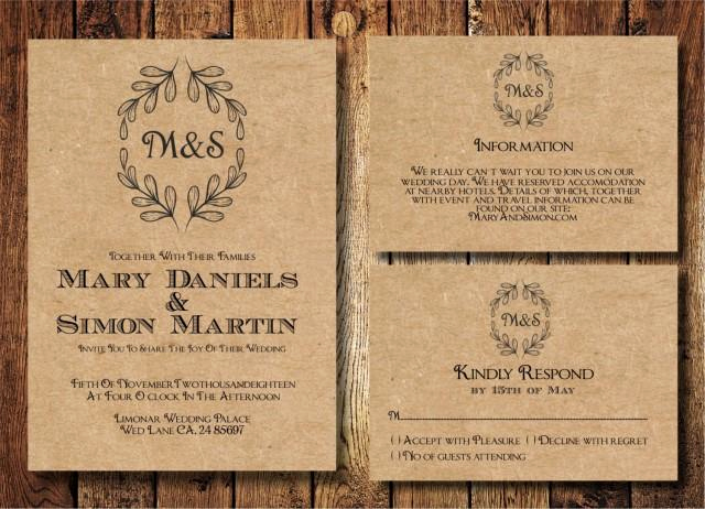 Rustic Wedding Invitation Templates Awesome Rustic Wedding Invitation Template Set Kraft Paper Wreath