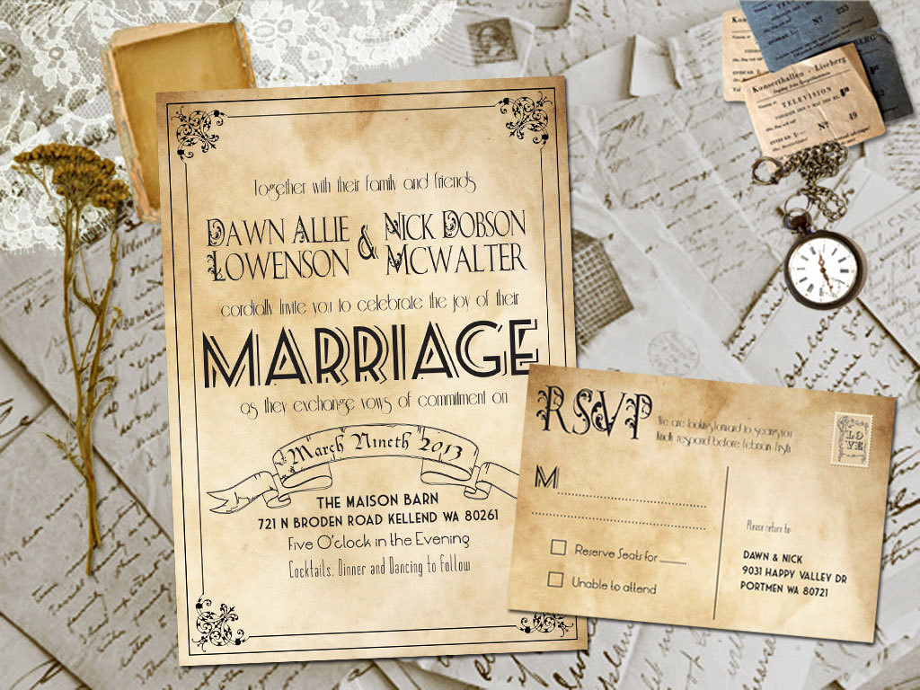 Rustic Wedding Invitation Templates Awesome Wedding Invite and Rsvp Marvelle Vintage Rustic Personalized