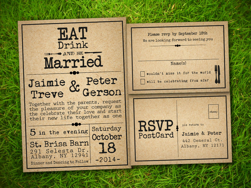 Rustic Wedding Invitation Templates Beautiful Etsy Template1