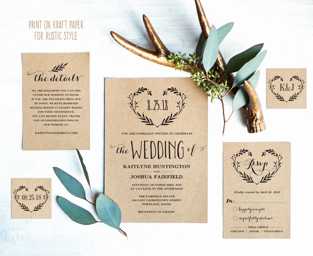 Rustic Wedding Invitation Templates Beautiful Rustic Wedding Invitation Template Printable Wedding