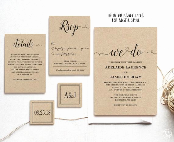 Rustic Wedding Invitation Templates Fresh Rustic Wedding Invitation Template 5 Piece by Vinewedding
