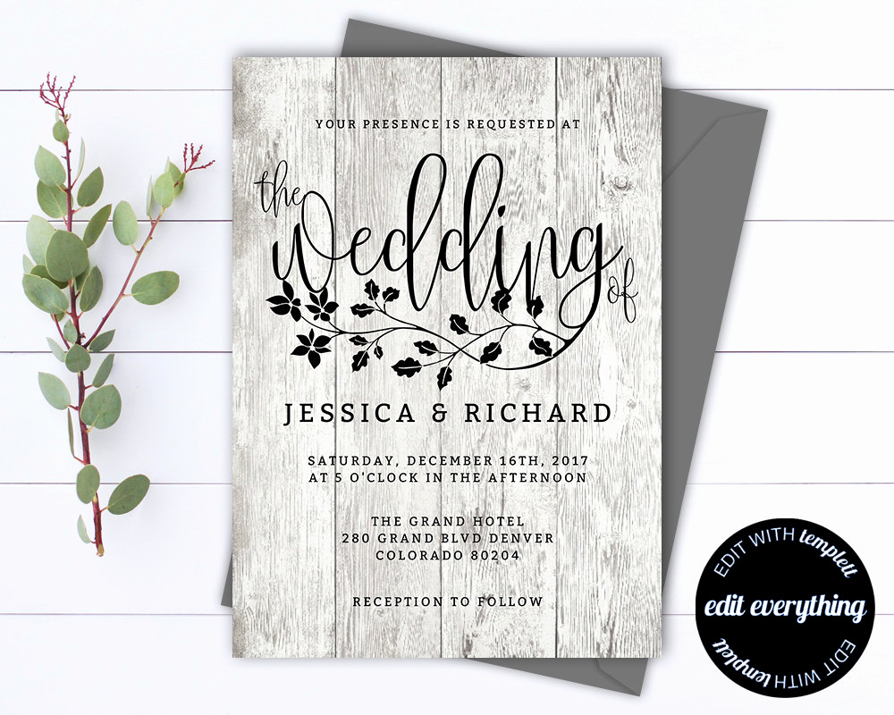 Rustic Wedding Invitation Templates Inspirational Rustic Wedding Invitation Template Country Wedding Template