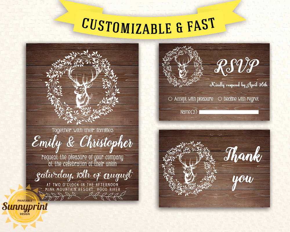 Rustic Wedding Invitation Templates Lovely Rustic Wedding Invitation Template Wedding by Sunnyprint