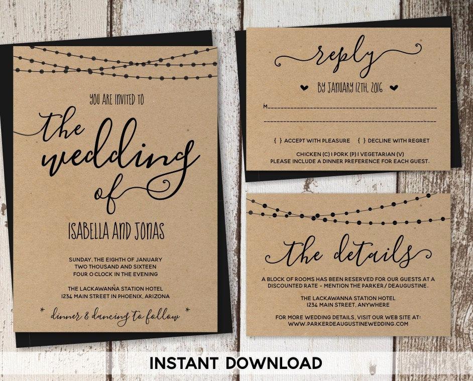 Rustic Wedding Invitation Templates Luxury Wedding Invitation Template Rustic Printable Set String