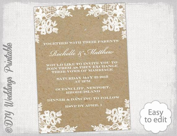 Rustic Wedding Invitation Templates Unique Rustic Wedding Invitation Template Diy Rustic Lace