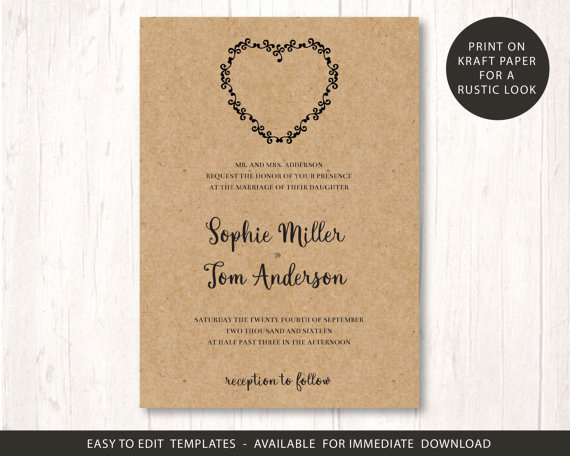 Rustic Wedding Invites Templates Awesome Wedding Invite Template Printable Wedding Invitation Set