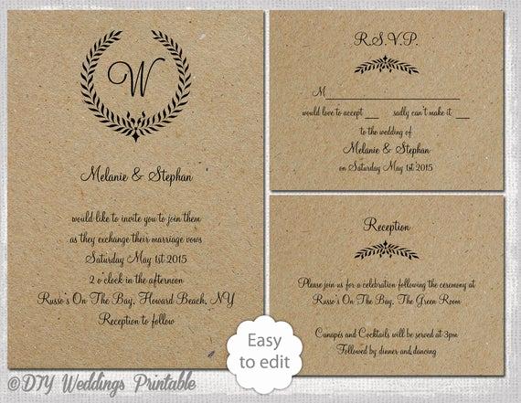 Rustic Wedding Invites Templates Fresh Rustic Wedding Invitation Set Leaf Garland